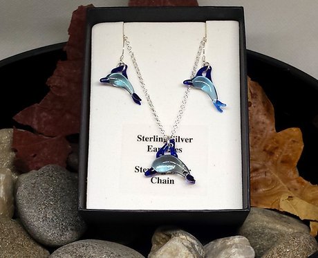 Glass dolphin jewellery, sterling silver, dolphin necklace