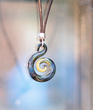 Glass Spiral Pendant Exotic Blue