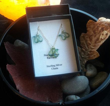 Glass Nessie jewellery, Loch Ness Monster jewellery. Silver Nessie jewellery