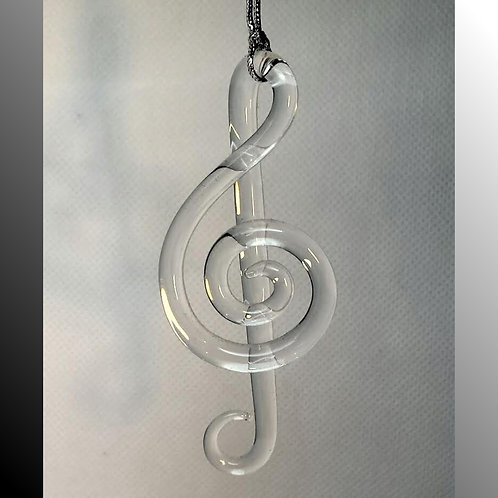 Clear glass hanging treble clef, Christmas treble clef