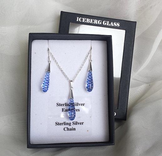 Glass fire twist jewellery set, glass spiral jewellery
