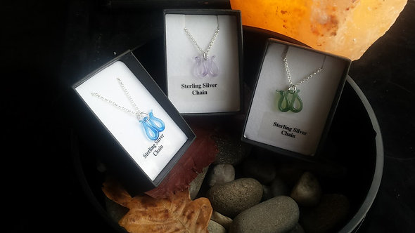 Glass Nessie necklace, Loch Ness monster necklace, silver Nessie necklace