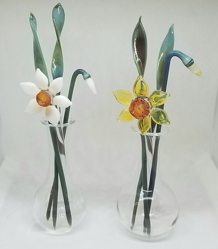 Glass Daffodils in Vase, Yellow Daffodil or White Narcissi