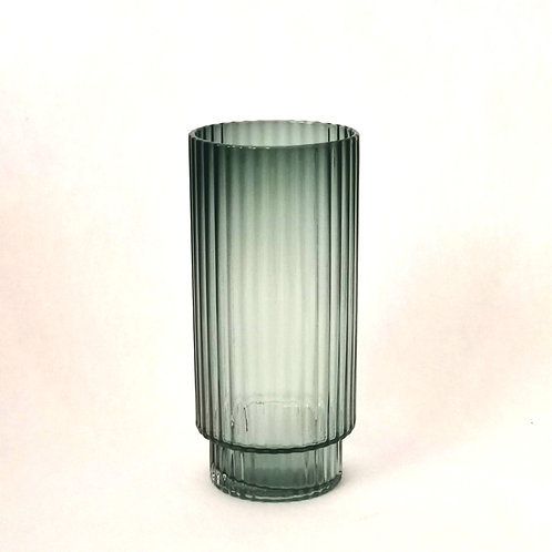 Emerald Green, Ribbed Long Water or Cocktail Glass. Rental
