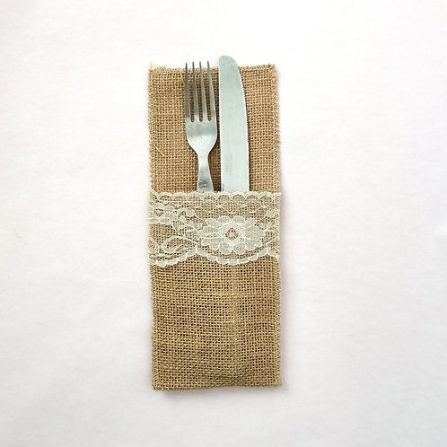 Hessian Knive and Fork Pocket Rental