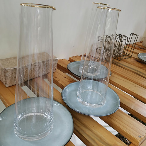 Clear Glass Jug with Gold Detail Rental