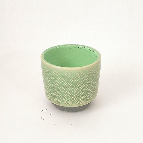 Teal Diamond Pattern Vase S