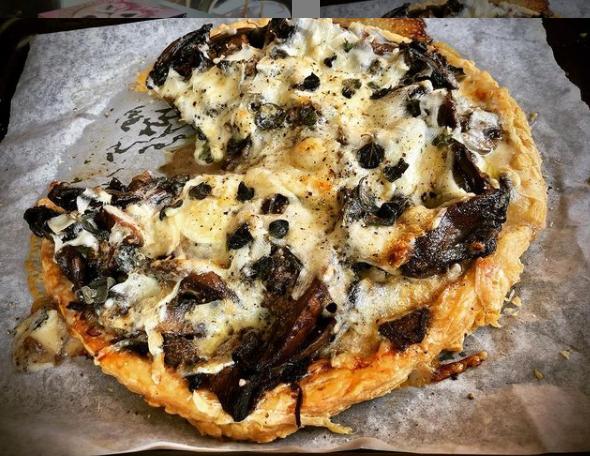 Black Mushroom and Parmesan Cheese Tart