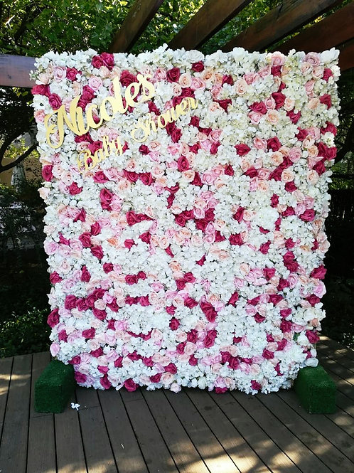 Faux Flower Wall Rental - Shades of Pink