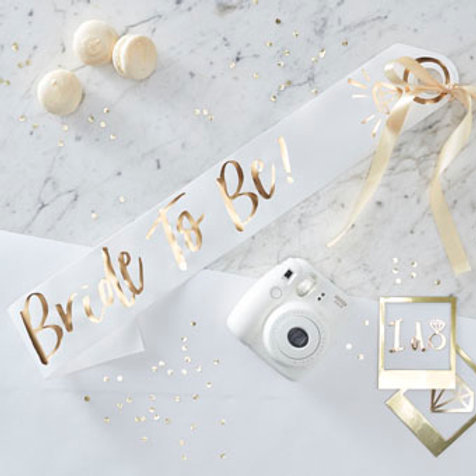 Bride-to-be-Sash (Gold on White)