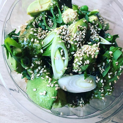 Pearl Barley Avo Pea Vegan Salad with Green Sauce