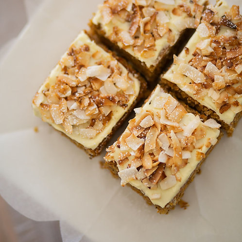 Carrot Cake Rectangular, Cream Cheese Frosting, Toasted Coconut