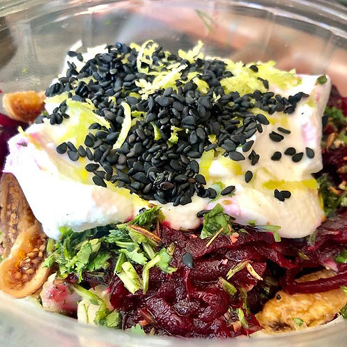 Fig and Fennel Salad with beetroot and aYoghurt Lemon Zest topping.
