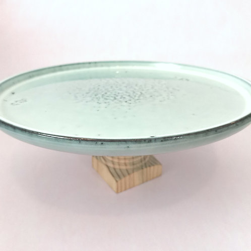 Teal and Wood Cake Stand