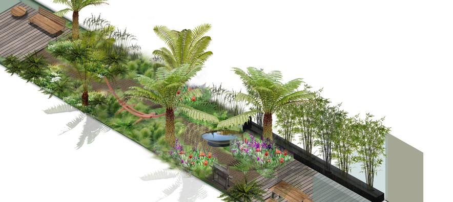 tropical London garden