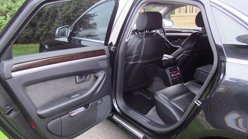 Black Audi A8 Chauffeur Car Interior, door open