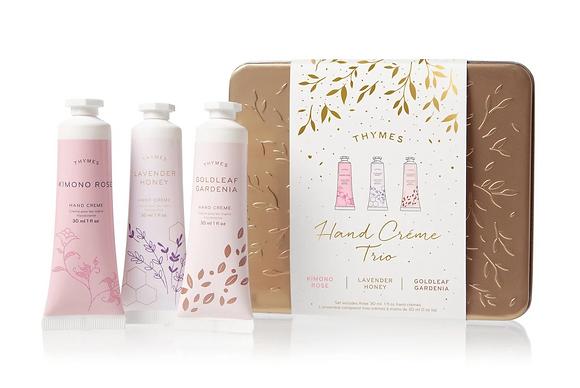 Thymes Hand Creme Trio - Kimono Rose, Lavender Honey & Goldleaf Gardenia