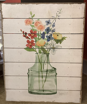 Raz Imports flower picture on wood