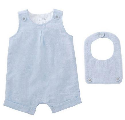 Baby Boy Light Blue Shortall & Bib
