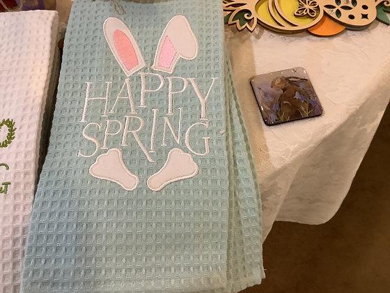 Happy Spring tea towel