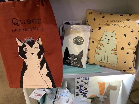 Cat tea towel $12.50,cat note cards $12.00 cat pillow