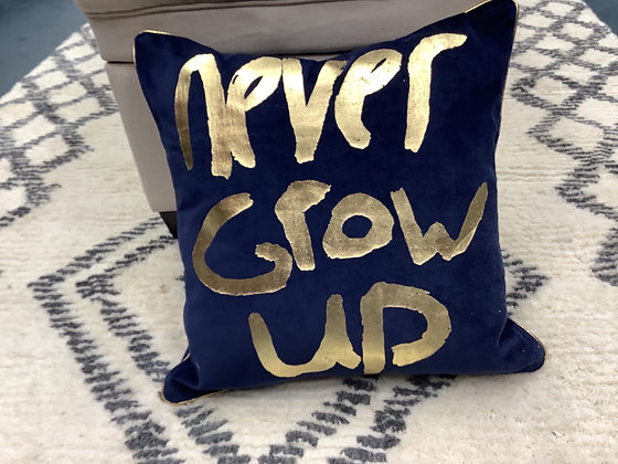 Never grow up pillow