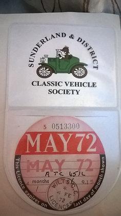 Tax Disc / Membership Card Holder with SDCVS logo