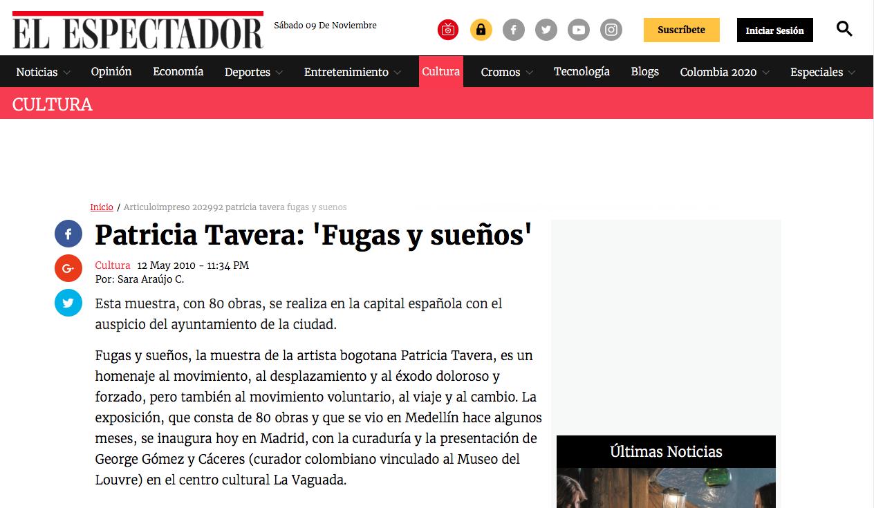 Patricia Tavera: 'Fugas y sueños'