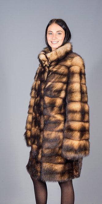 пальто хорь  натуральный поперечка