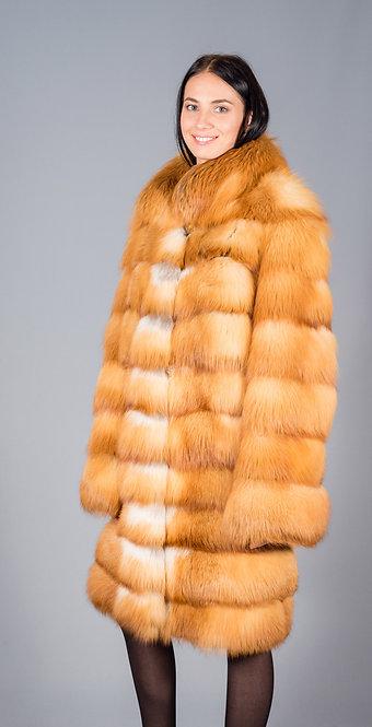 пальто лиса красная канадская