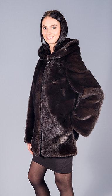 полу пальто норка scblack с капюшоном