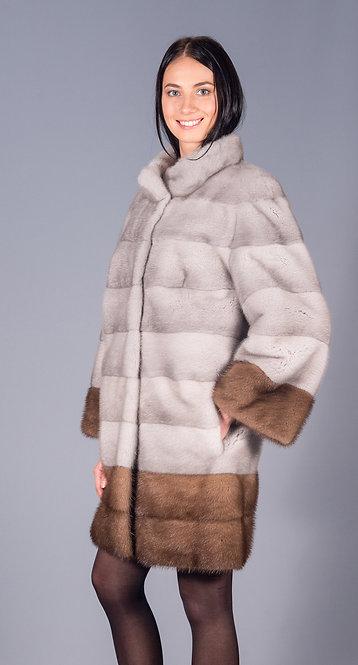 полу пальто норка сапфир + пастель