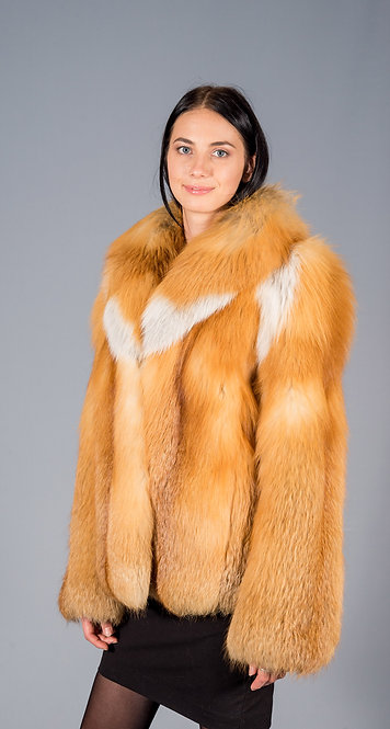 полу пальто лиса красная канадская