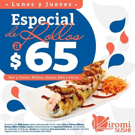 Kiromi Sushi_Especial de rollos a 65 pes