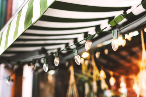 Awning and Christmas Lights