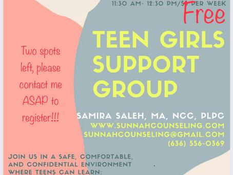 Teen Girls Support Group Flyer