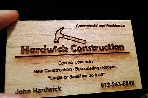Alder Wood Business Cards