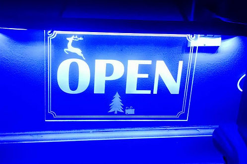 """OPEN"" LED Acrylic Blue Sign"