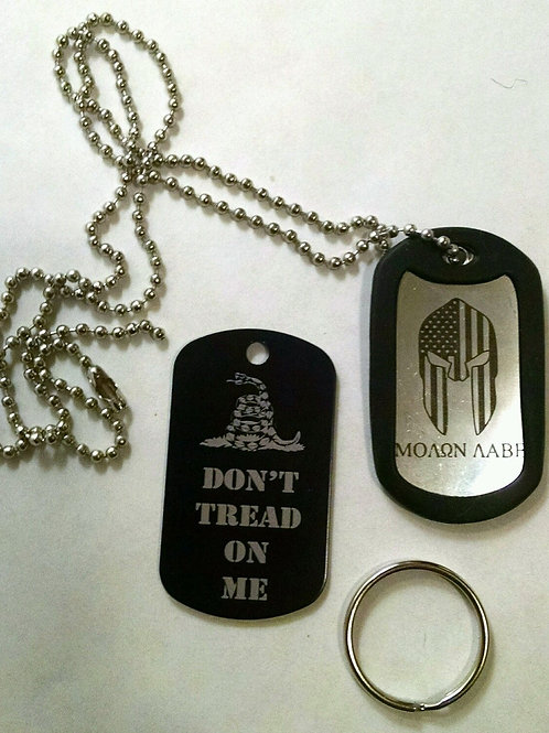 Engraved Military Dog Tags (2) -Don't Tread on Me