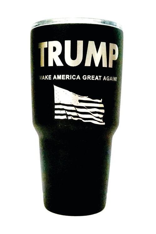 Aries Laser Designs TRUMP Engraved on Black, Blue, Red or White 30 oz.Tumbler