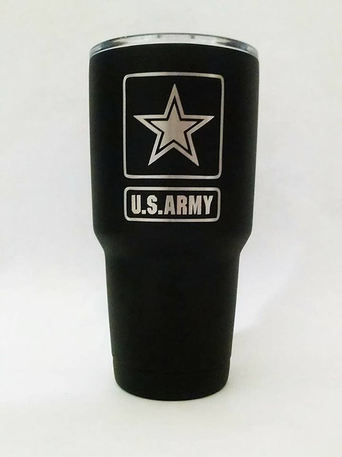 U.S. ARMY Engraved on Black Polar Camel 30 oz. Stainless Steel Tumbler BOTH SIDE