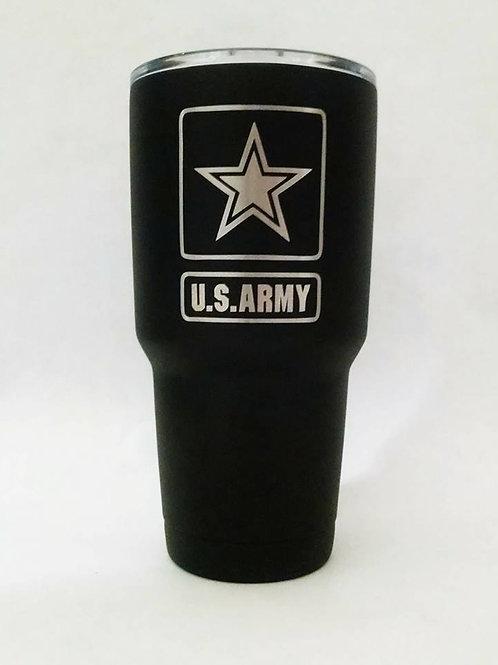 U.S. ARMY Engraved on Black Polar Camel 30 oz. Stainless Steel Tumbler BOTH SIDE