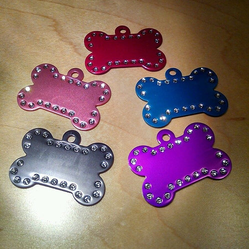 Rhinestone Dog Bone Pet Tag, Custom Engraved