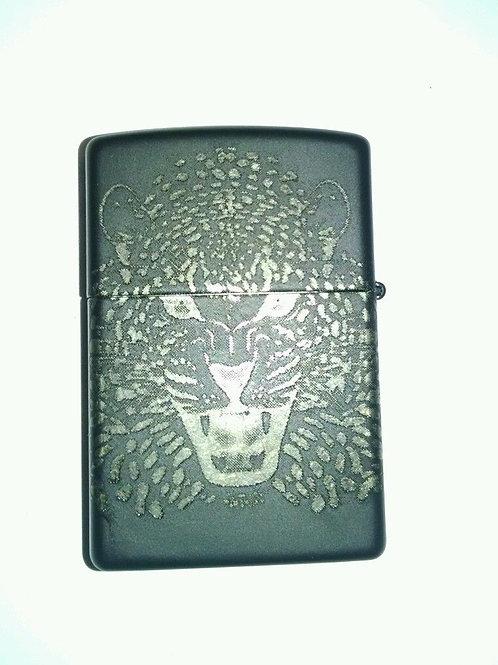 Zippo Lighter, Matte Black, Engraved Leopard
