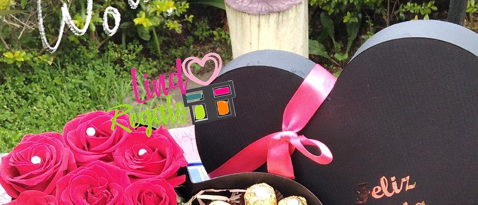 Caja rosas y vino + Bombones o chocolates