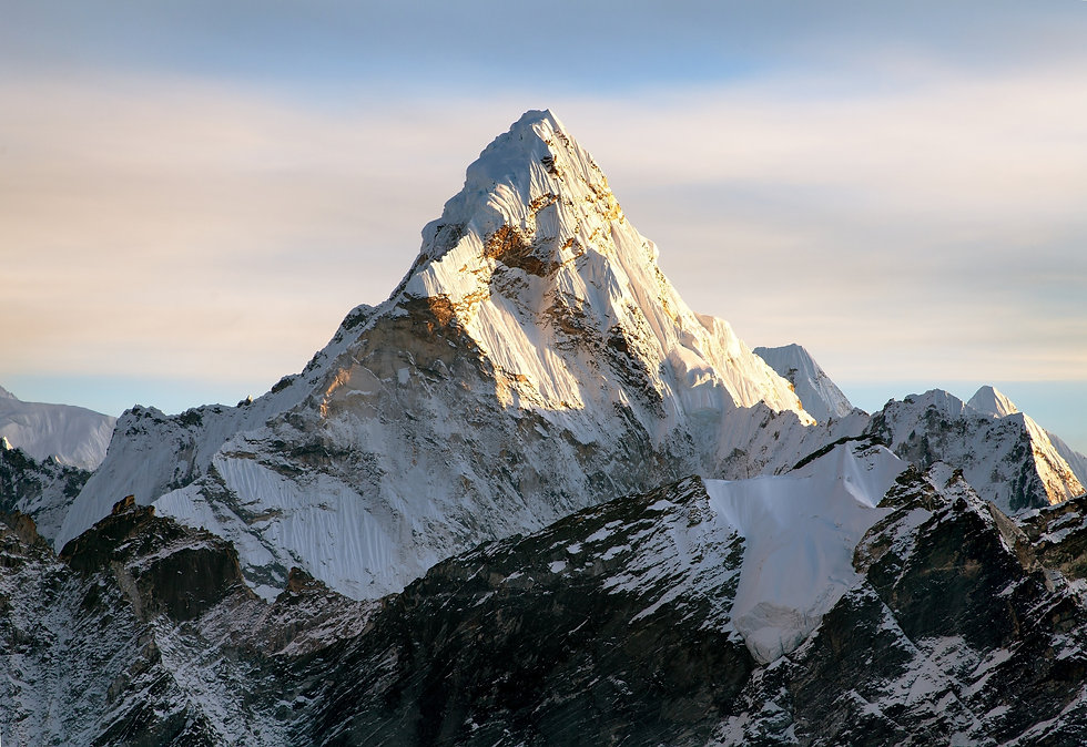 Evening view of Ama Dablam on the way to Everest Base Camp, Sagarmatha national park, Khumbu valley,