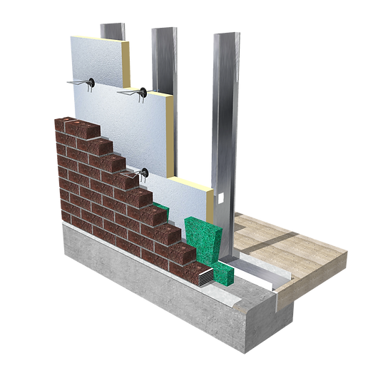Brick Cavity Wall Application Polyiso to steel studs