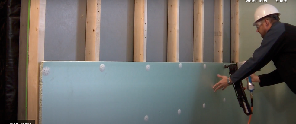 Plasti-Grip ci Prong Washer Shown attaching rigid insulation to wood studs
