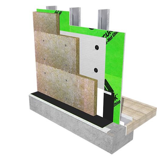 Mineral Wool Attachment over building wrap into steel studs using Thermal Grip Impaling Fasteners