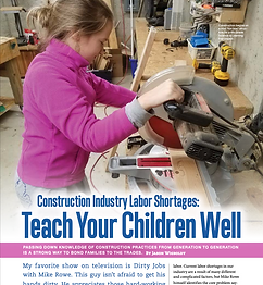 Teach Your Children Well: Construction Industry Labor Shortages